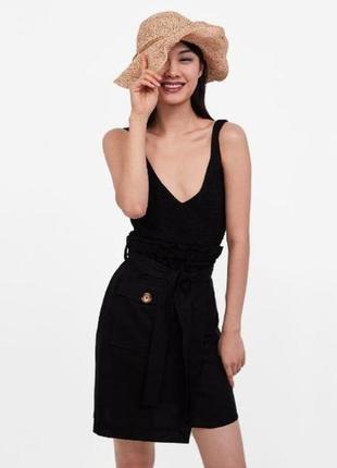 Стильная льняная юбка на запах zara paperbag высокая посадка с поясом карман на пуговице