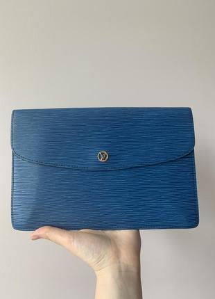 Vintage louis vuitton borneo montaigne mm blue epi leather clutch bag  оригинал.