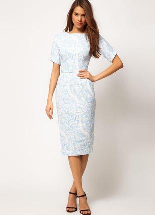 Нарядное хлопковое  нежное платье-футляр  с карманами