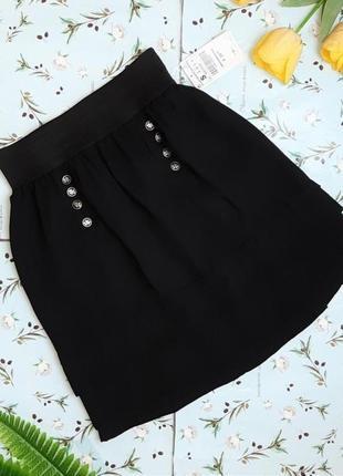 🌿1+1=3 фирменная черная юбка на резинке zara, размер 44 - 46
