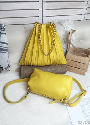 Яскрава літня сумочка з клатчем. сумочка желтая с клатчем.
