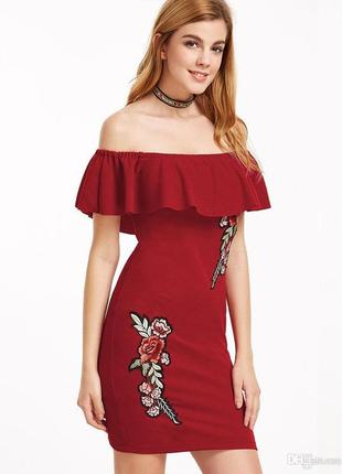 Платье мили яркое стильное розы открытые плечи blue vanilla