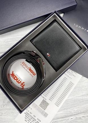 Мужской ремень + портмоне, подарочный набор tommy