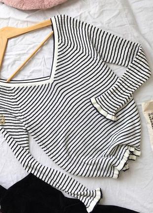 Базовый белый пуловер джемпер в полоску от asos
