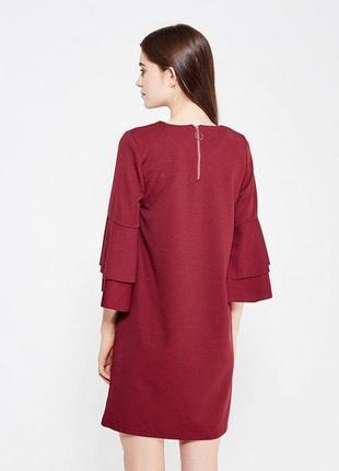 Платье миди с объемным рукавом воланы parisian