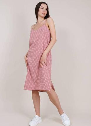 Пудровое/розовое миди платье-комбинация/сарафан на брителях горохс-л