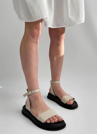 Кожаные черные бежевые босоножки сандали сандалии  шкіряні босоніжки