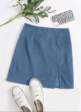 New! новая юбка голубая с разрезом