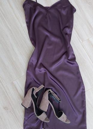 Шелковое платье атласное сарафан