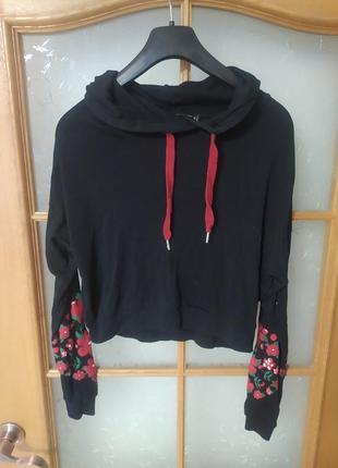 Свитшот худи с цветочным принтом на рукавах от fb sister,p. m