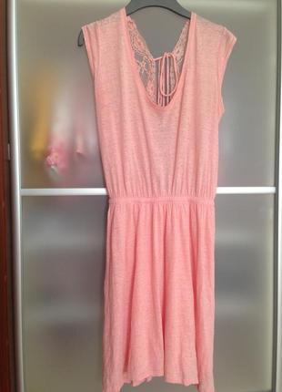 Натуральное 100 % льняное пудровое платье с кружевной спинкой на подкладке zara