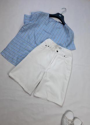 Белые коттоновые шорты, высокая посадка, m,l