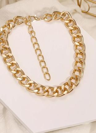 Крупная цепь цепочка чокер колье под золото новая