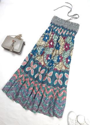 Платье, сарафан свободного кроя, воланами, натуральное, хлопок, s-m