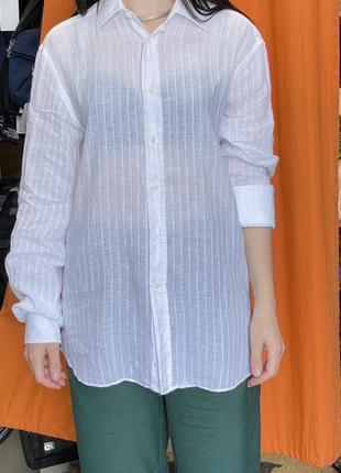 Крута італійська рубашка з французького льна. canali