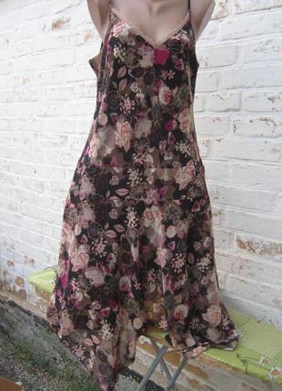 Платье сарафан цветы вискоза батал george
