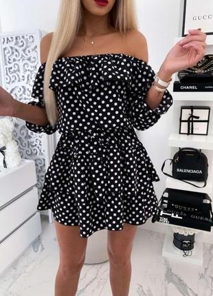 Женское платье летнее супер софт цвет черный в белый горох размер: 44-46 46-48