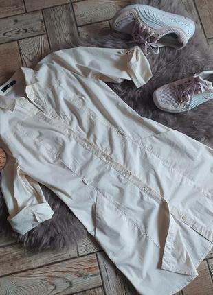 Актуальное платье-рубашка mango из хлопка кремового цвета.размер 34-36(xs-s)