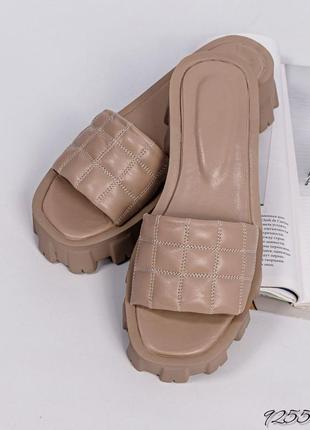 ❤ женские бежевые кожаные  шлёпки шлепанцы сланцы тапочки  ❤