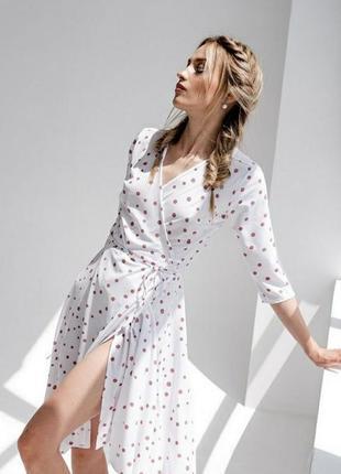 Платье летнее, на запах, платье в горох