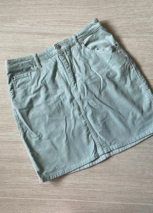 Велюровая мятная юбка от h&m