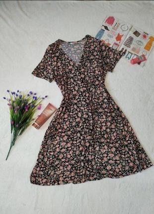 Платье миди из вискозы в мелкие цветы сукня сіжі з віскози в квіти