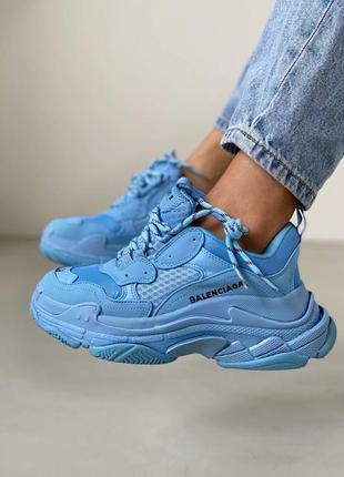 Небесно голубые женские кроссовки