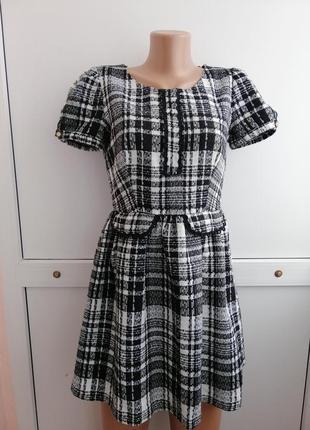 Платье чёрное белое принт1 фото