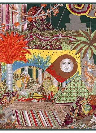 Большой шелковый фантазийный платок парео с тропическим принтом