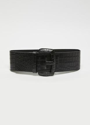 Натур. кожаный крокодиловый широкий ремень 71-93 см
