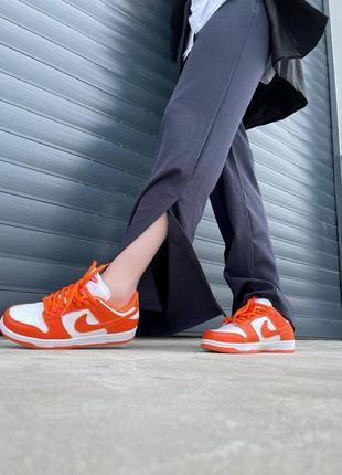 Женские кроссовки nike dunk low orange4 фото