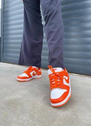 Женские кроссовки nike dunk low orange2 фото