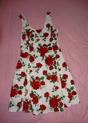 Платье сарафан h&m  в принт  розы