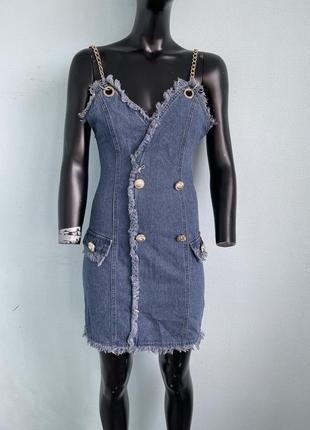 Стильное платье джинсовое сарафан на цепях в стиле balmain