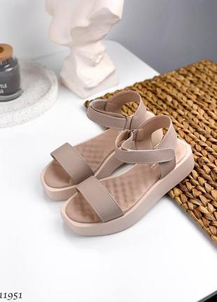 Бежевые кожаные босоножки, сандалии, на платформе, р. 36-40