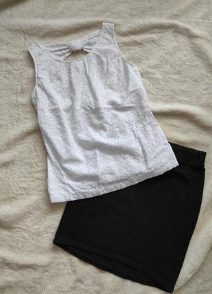 Летний фирменный комплект костюм на каждый день топ прошва блузка и мини юбка размер с или на девочку подростка