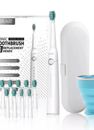 Электрическая зубная щетка seago sg958 белая