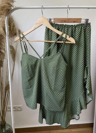 Летний женский костюм юбка и топ на бретельках, цвет оливка в горошек! ликвидация остатков