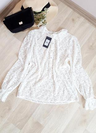 Шикарная белая блузка с вышивкой кружево zara h&m bershka primark next