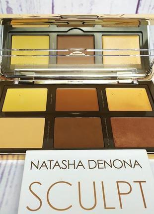 Палетка для щек natasha denona sculpt & glow face highlighting & contour glow palette 02 medium dark