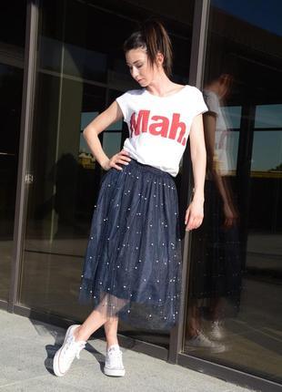 Модная юбка с фатина с бусинами