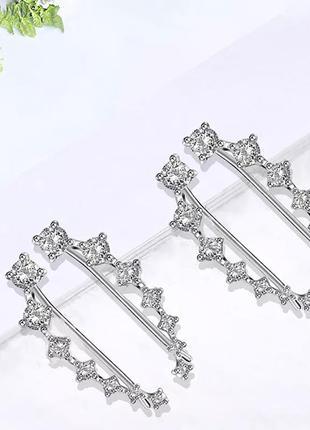 Новые серебряные серьги каффы (кафы) с фианитами