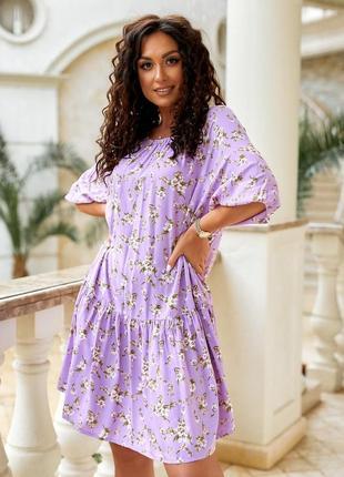 Платье женское летнее миди повседневное свободное с три-четверти рукав в цветочек штапель