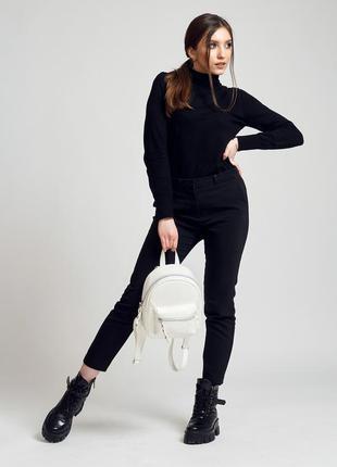 Практичный летний женский белый городской рюкзак эко кожа
