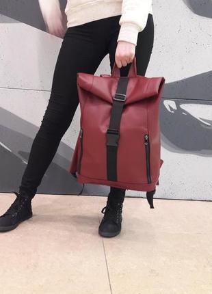 Брендовый женский бордовый рюкзак ролл топ для путешествий