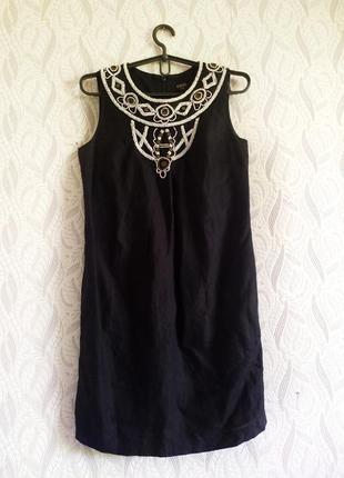 Oasis чорна вишита бісером сукня льон