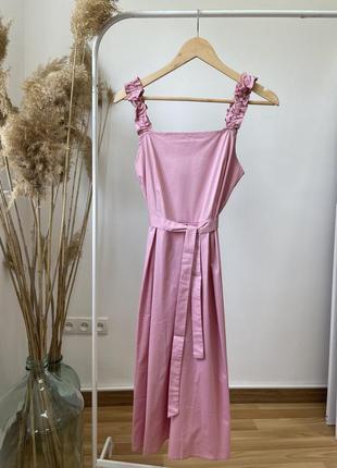 Женский сарафан с юбкой в складу, цвет розовый! ликвидация остатков