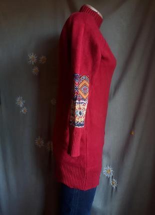 Свитер гольф красный в стиле бохо этно орнамент заплатки / распродажа !