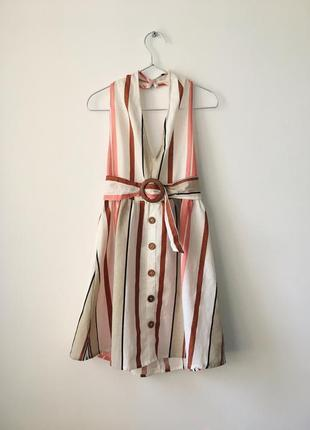Новое льняное платье с поясом и деревянной пряжкой asos