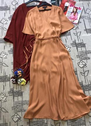 Шикарное персиковое платье миди, new look, размер 12-14